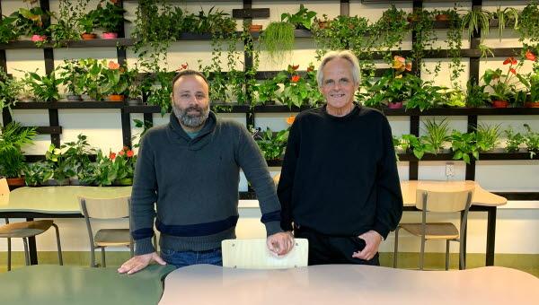 Bild från ett klassrum på Timrå gymnasium, två män på bilden och massa gröna växter på en vägg