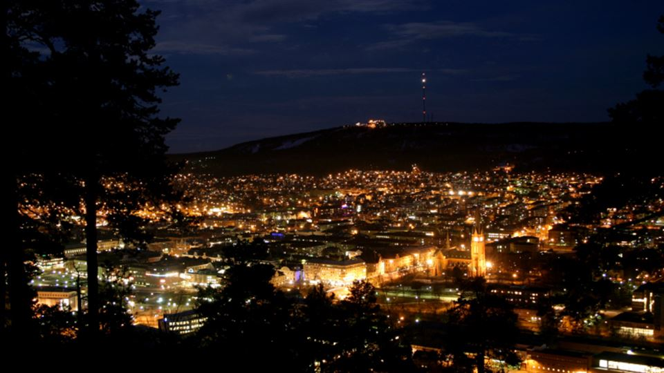Vybild över sundsvall på natten