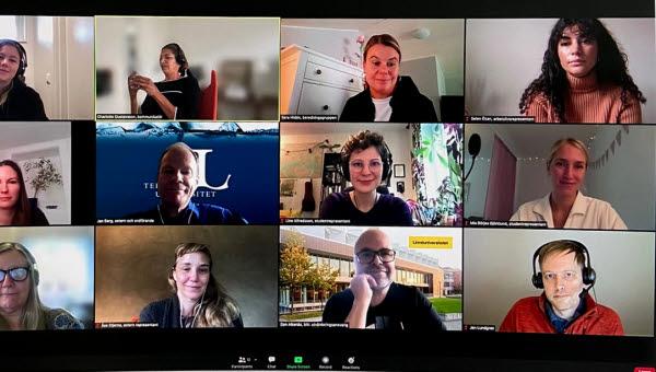 Digitalt möte med flera personer som ska delta i Treklöverutvärderingen