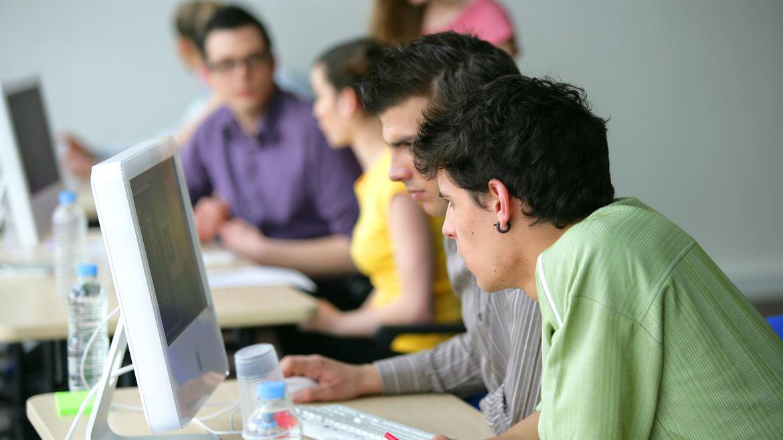dator, kommunikation, klassrum