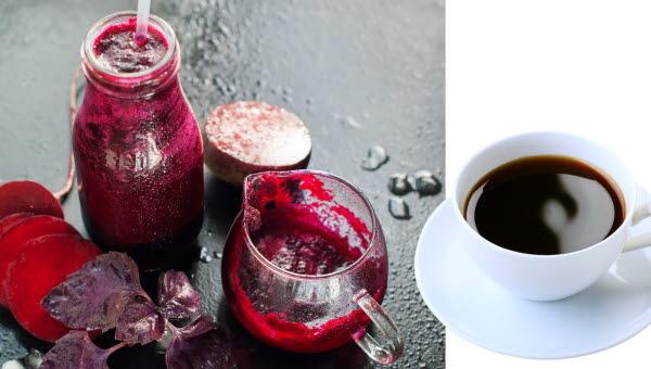 Rödbetsjuice och kaffe
