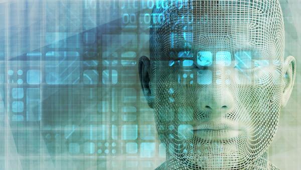 Illustrativbild av AI, datorer, sensorer och människa