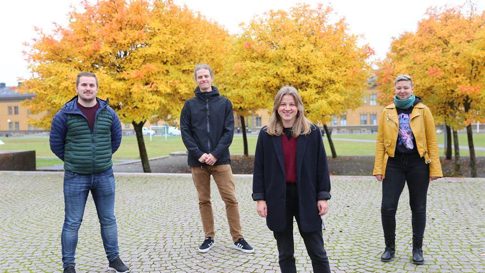 Alexander Djurberg, William Klemets, Fredrika Matell och Gabriella Isaksson är alla förstaårsstudenter på programmet Turism- och destinationsutveckling vid Mittuniversitetet.