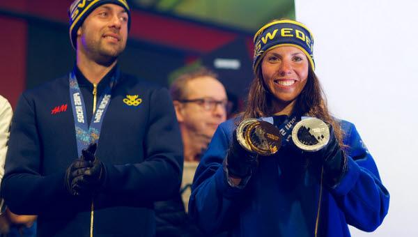 Charlotte Kalla hyllas efter OS i Sotji 2014.